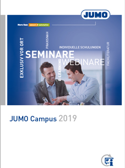 The New JUMO Campus Program 2019 Is Now Available: Seminars and Webinars on Measurement and Control Technology, The requirements for employees in the measurement, control, and automation technology field keep on growing while products and solutions are becoming more and more complex. Lifelong learning has long since become a critical success factor in this dynamic working world.